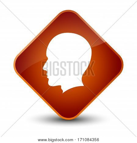 Head Male Face Icon Special Brown Diamond Button