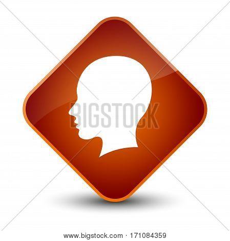 Head Female Face Icon Special Brown Diamond Button