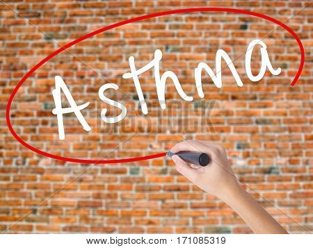 Woman Hand Writing Asthma With Black Marker On Visual Screen