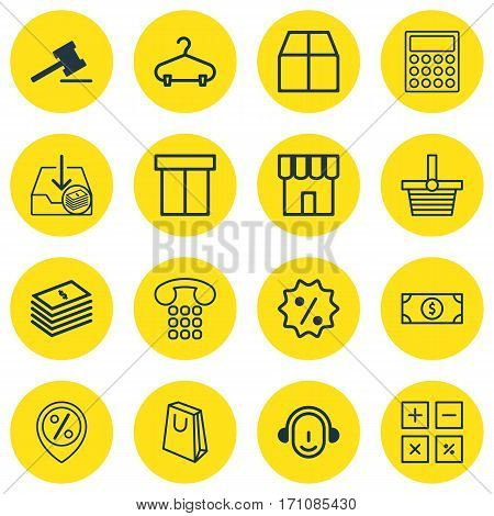Set Of 16 E-Commerce Icons. Includes Shop, Peg, Callcentre And Other Symbols. Beautiful Design Elements.
