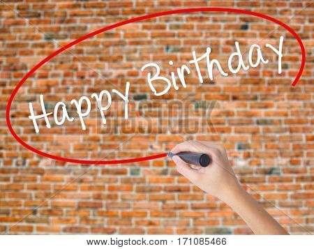 Woman Hand Writing Happy Birthday With Black Marker On Visual Screen