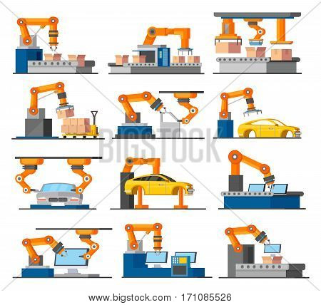 Automation industrial process elements set with robotic arms working on assembly and packaging line isolated vector illustration