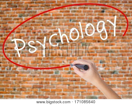 Woman Hand Writing Psychology With Black Marker On Visual Screen