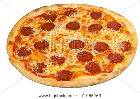 Appetizing Hot Pepperoni Pizza Isolated On White