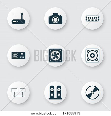 Set Of 9 Computer Hardware Icons. Includes Loudspeakers, Dynamic Memory, Cd-Rom And Other Symbols. Beautiful Design Elements.