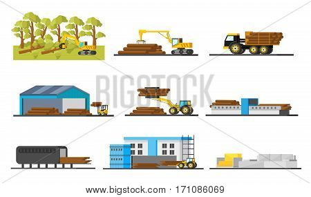 Wood production elements collection with trees felling transportation storage cutting board and furniture manufacturing isolated vector illustration