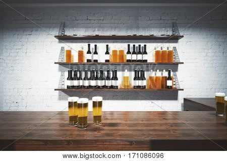Front view of wooden bar counter with beer glasses. White brick wall with booze shelves in the background. 3D Rendering