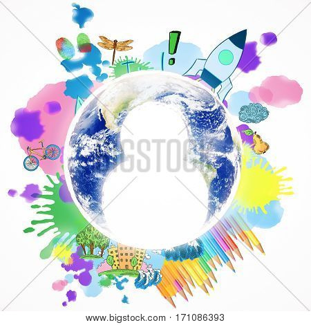 Abstract image of globe with human icons and colorful sketch. Talented staff concept.