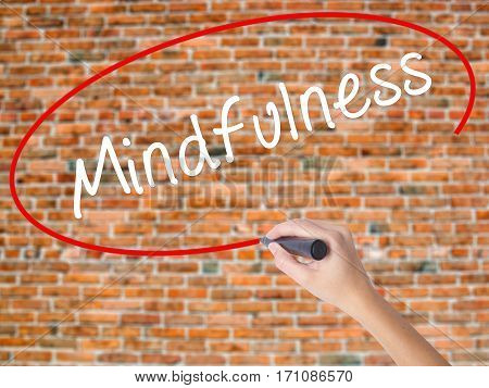 Woman Hand Writing Mindfulness  With Black Marker On Visual Screen