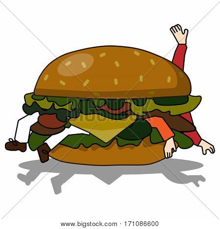 bad burger eating people Vector illustration in flat style.