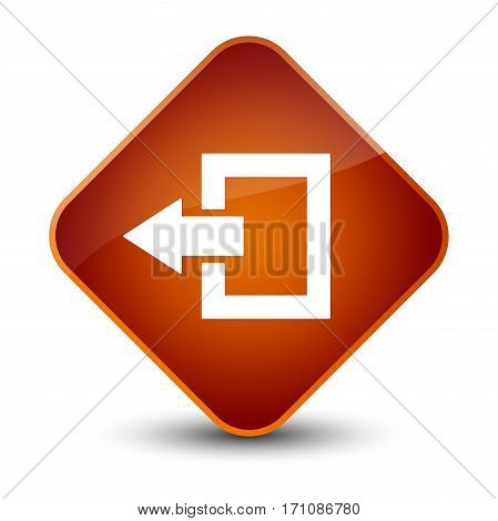 Logout Icon Special Brown Diamond Button