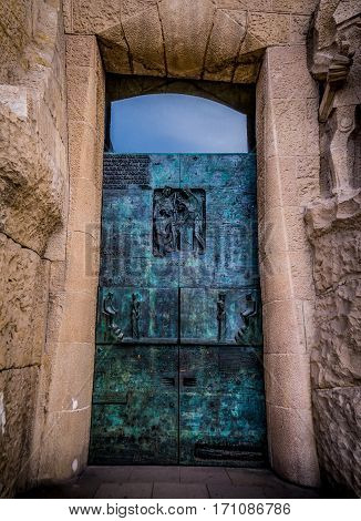 side door of the sandra familia barcelona spain