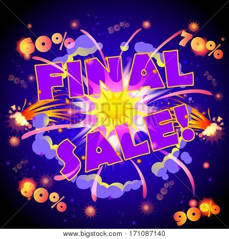 Cartoon advertising sale template with bomb explosion smoke blast effects and percent rates vector illustration