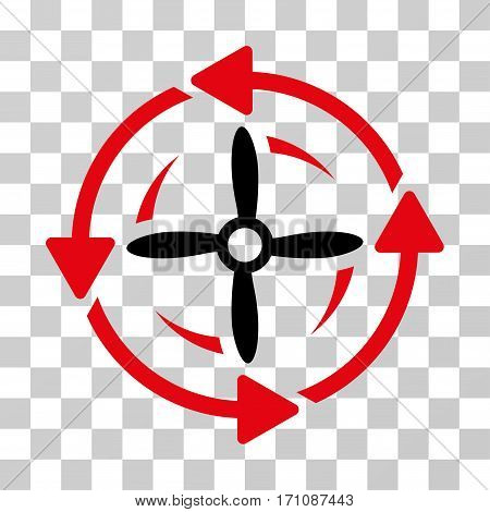 Screw Rotation icon. Vector illustration style is flat iconic bicolor symbol intensive red and black colors transparent background. Designed for web and software interfaces.