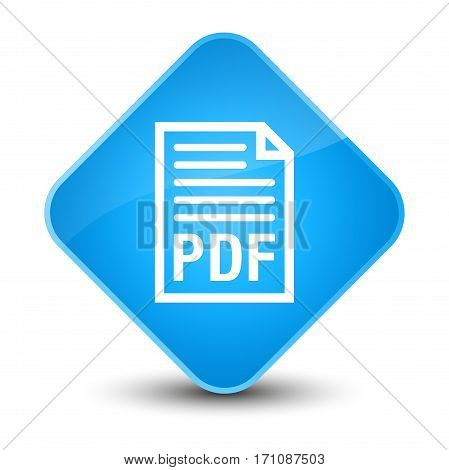 Pdf Document Icon Special Cyan Blue Diamond Button