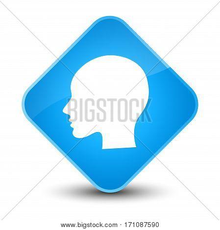 Head Woman Face Icon Special Cyan Blue Diamond Button