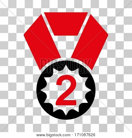 Second Place icon. Vector illustration style is flat iconic bicolor symbol intensive red and black colors transparent background. Designed for web and software interfaces.