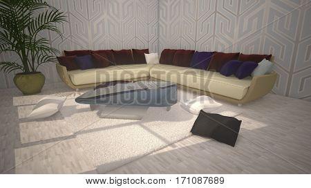 3d illustration of the living-room interior