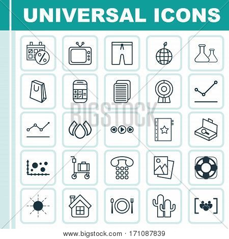 Set Of 25 Universal Editable Icons. Can Be Used For Web, Mobile And App Design. Includes Elements Such As Television, Sun, Swimming Clothes And More.