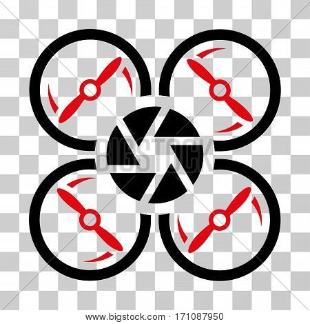 Shutter Drone icon. Vector illustration style is flat iconic bicolor symbol intensive red and black colors transparent background. Designed for web and software interfaces.
