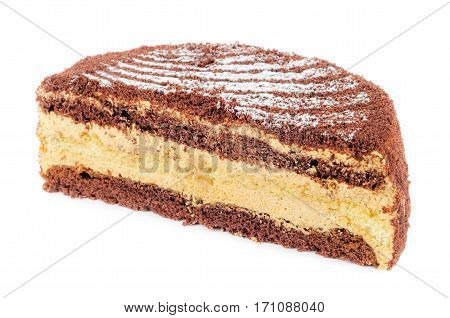 Chocolate cake cut in half isolated on white background