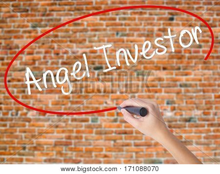 Woman Hand Writing Angel Investor With Black Marker On Visual Screen.