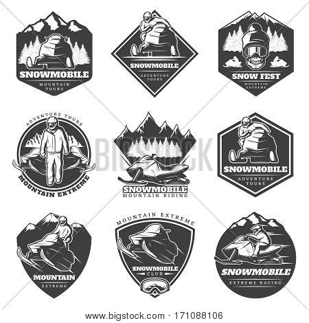 Monochrome winter sport extreme labels set with drivers snowmobiles skull and landscapes in vintage style isolated vector illustration
