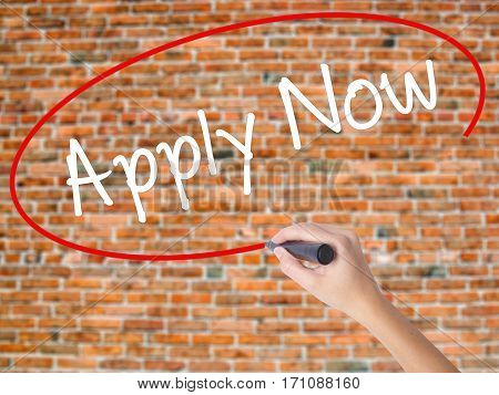Woman Hand Writing Apply Now With Black Marker On Visual Screen
