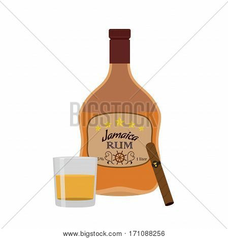 Alcohol drink, rum, cigar with glass. Jamaica rum in flat style design. Vector illustration. Liquor for pubs restaurants hipster bars