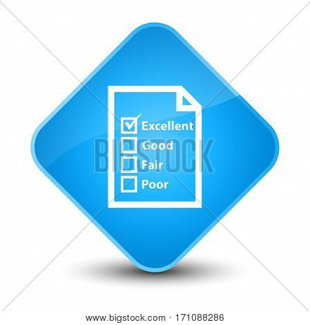 Questionnaire Icon Special Cyan Blue Diamond Button