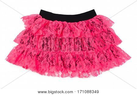 Pink lace skirt for dancing isolated on white background