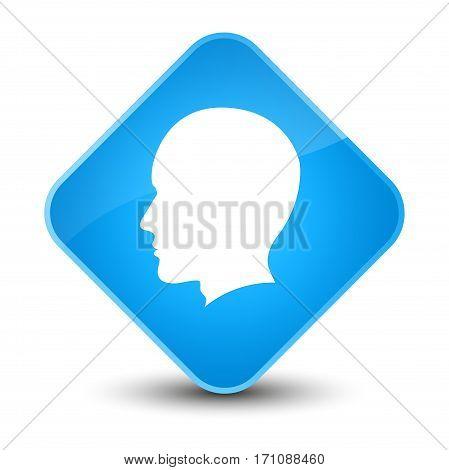 Head Male Face Icon Special Cyan Blue Diamond Button