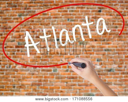 Woman Hand Writing Atlanta With Black Marker On Visual Screen