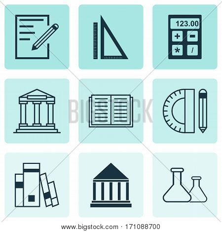 Set Of 9 Education Icons. Includes Opened Book, Library, Education Tools And Other Symbols. Beautiful Design Elements.