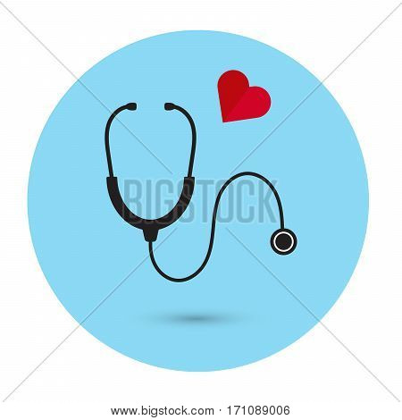 Stethoscope with heart vector icon medical equipment sign hospital care symbol