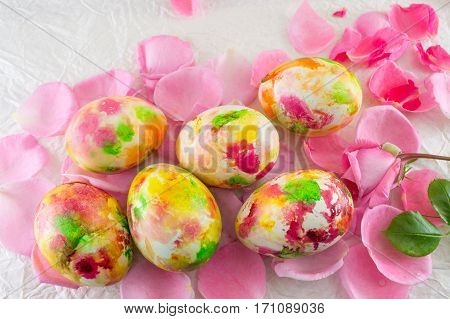 Painted Easter Egg On Pink Rose Petals