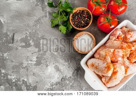 Raw Chicken Wings In A Baking Dish