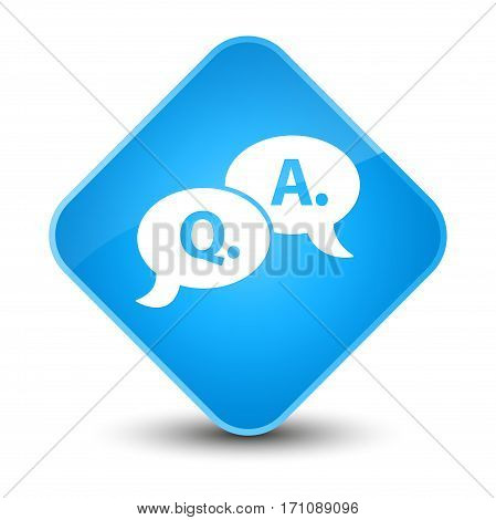 Question Answer Bubble Icon Special Cyan Blue Diamond Button