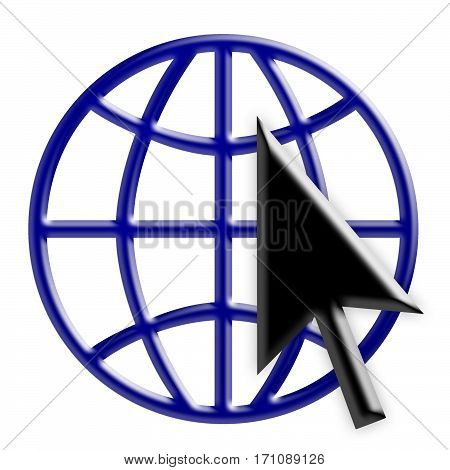 Blue 3d Internet Globe Icon With Black Arrow Cursor World Wide Web Symbol 3d Illustration Isolated On White Background