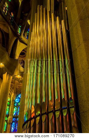 Great organ in cathedral sagrada familia barcelona spain
