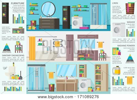 Bathroom interior design infographic concept with equipment accessories and different variants of architecture vector illustration
