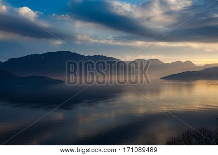 Kvam In Hardanger Fjord, Norway, In A Fascinating Light
