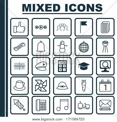 Set Of 25 Universal Editable Icons. Can Be Used For Web, Mobile And App Design. Includes Elements Such As Agrimotor, Graduation, Dance Club And More.