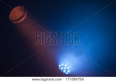Colorful Scenic Spot Lights In Smoke
