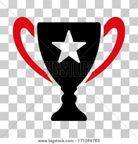 Trophy Cup icon. Vector illustration style is flat iconic bicolor symbol intensive red and black colors transparent background. Designed for web and software interfaces.