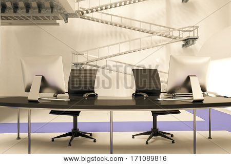 Front view and close up of reception desk in futuristic office with stairs in the background. 3D Rendering