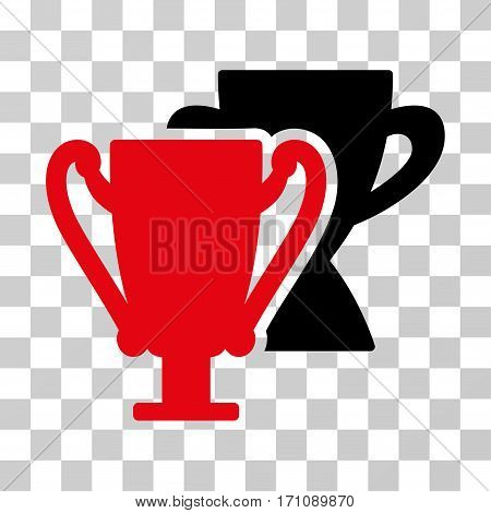 Trophy Cups icon. Vector illustration style is flat iconic bicolor symbol intensive red and black colors transparent background. Designed for web and software interfaces.
