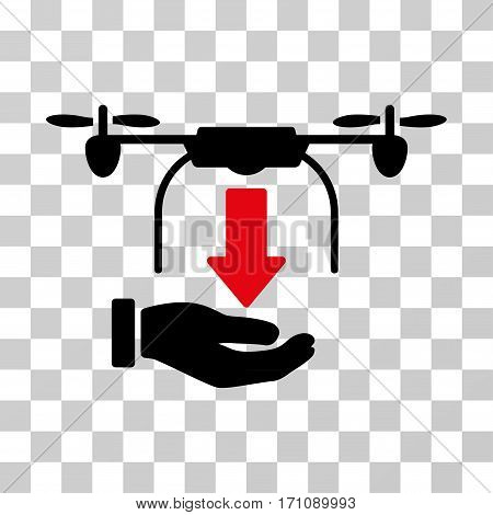 Unload Drone Hand icon. Vector illustration style is flat iconic bicolor symbol intensive red and black colors transparent background. Designed for web and software interfaces.