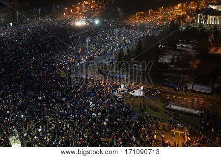 BUCHAREST, ROMANIA - 05 February 2017: More than 240000 protesters in Victory Square (Piata Victoriei)