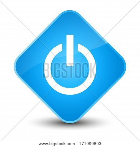 Power Icon Special Cyan Blue Diamond Button